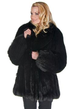 Genuine Real Fox Fur Jacket for Women Plus Size 2X Black - S