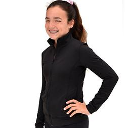 Stretch is Comfort Girl's Cotton Warm up Jacket Black Medium
