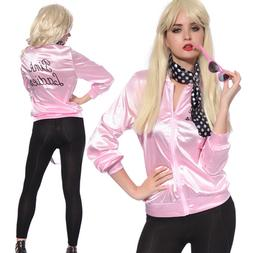 Halloween Pink Lady Retro 50s Jacket Women Fancy Grease Cost