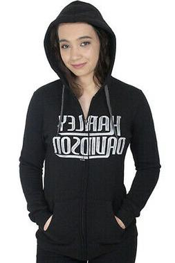Harley-Davidson Womens Watercolor Script Full Zip Black Hood