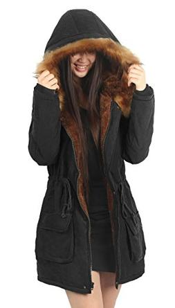iLoveSIA Womens Hooded Coat Faux Fur Lined Jacket Black 14