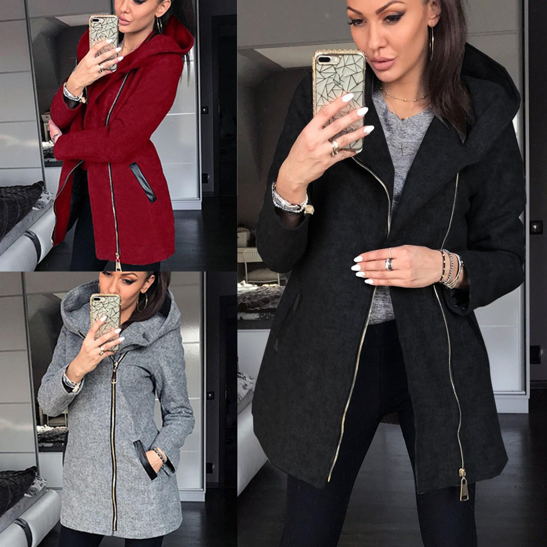 2019 winter fashion coat solid color zipper