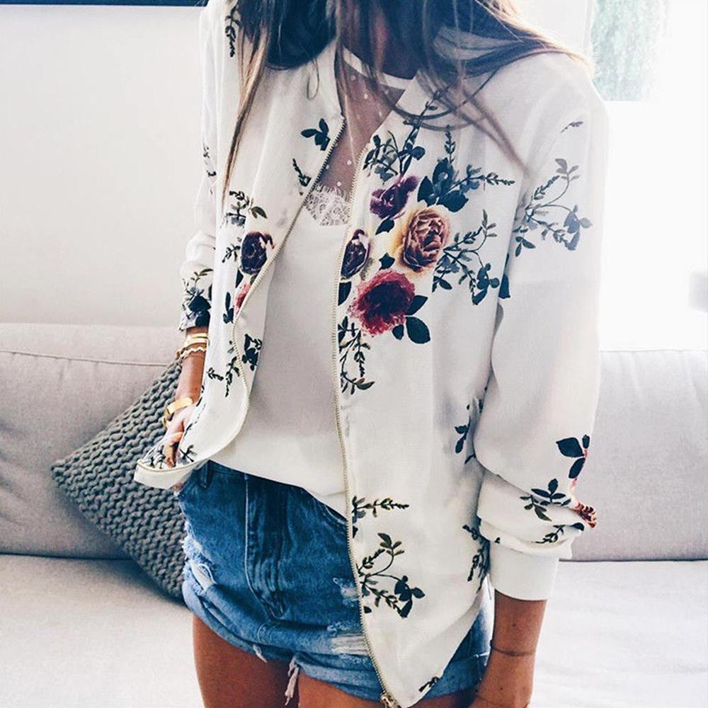 5XL Size <font><b>Jacket</b></font> Short Printed Bomber <font><b>Jackets</b></font> Autumn Female