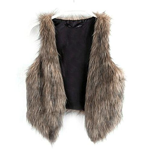 Dikoaina Fashion Women Fur Waistcoat Short Vest Jacket Coat Outwear