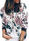 ECOWISH Women's Casual Floral Zip Up Bomber Jacket Coat Stan
