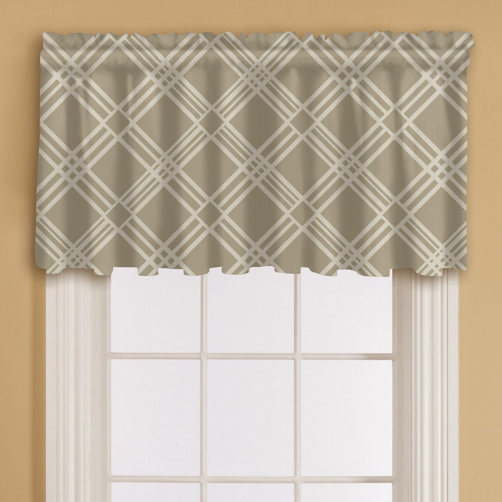 Essential Home Print Window Valance 60 by 16-Inch - Sand