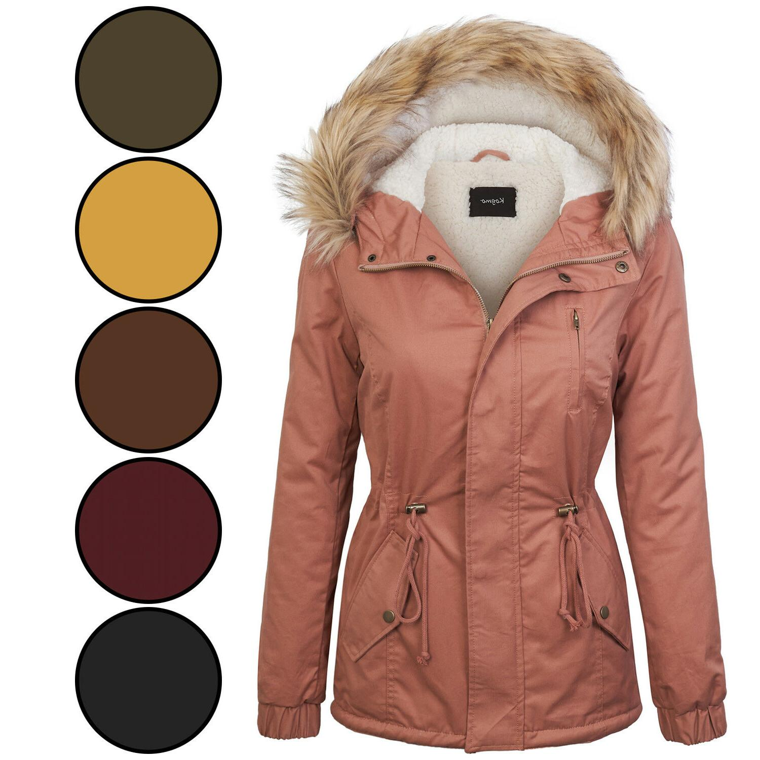 KOGMO Womens Sherpa Lined Zip Up Anorak Jacket Parka with Fu