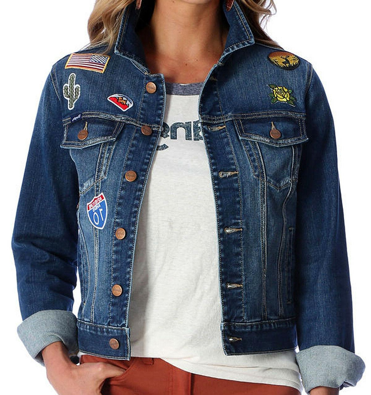 NWT Women's WRANGLER Jean Denim Patch Jacket LWJ300D Medium