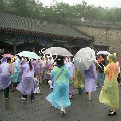 Women/Men Waterproof Clear PE Raincoat Hooded Poncho
