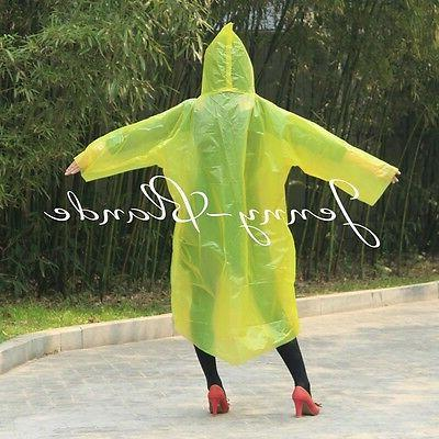 Women/Men Jacket Clear PE Rain Coat Hooded Poncho Rainwear