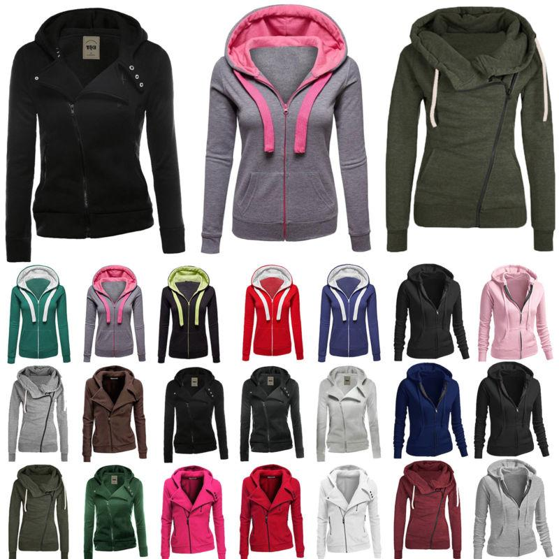 winter plain zip up fleece hoody women