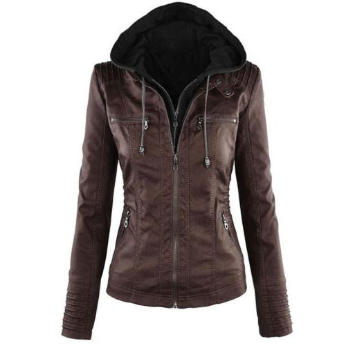 Womens Hooded Jacket Slim Trench Winter