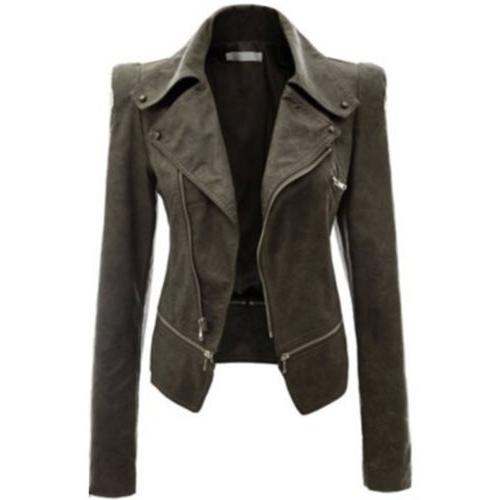 Womens PU Leather Biker Motorcycle Zip Up Cropped