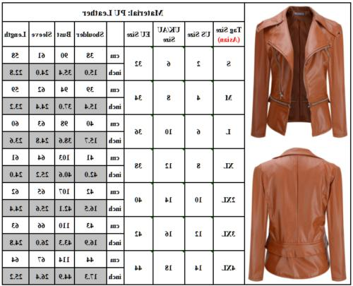 Womens PU Leather Biker Motorcycle Up Cropped