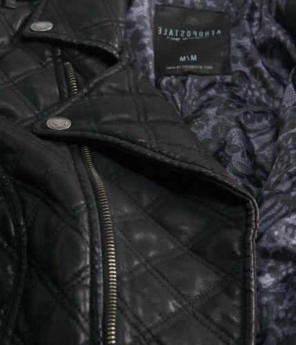 AEROPOSTALE Womens Quilted Faux Leather Jacket Coat L Large NWT