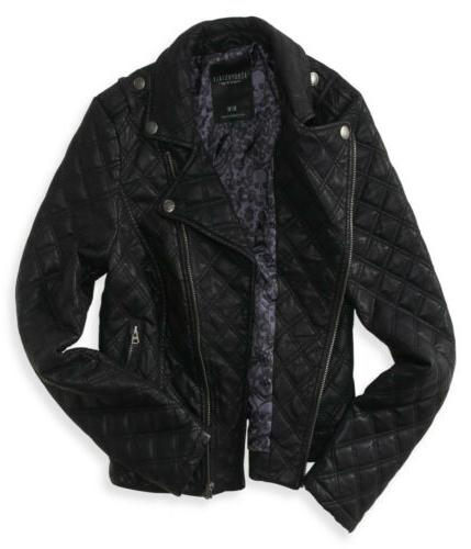 AEROPOSTALE AERO Quilted Faux L Black NEW NWT
