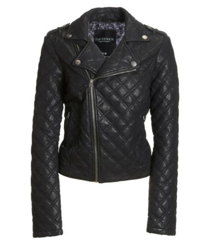 aero womens quilted faux leather jacket coat