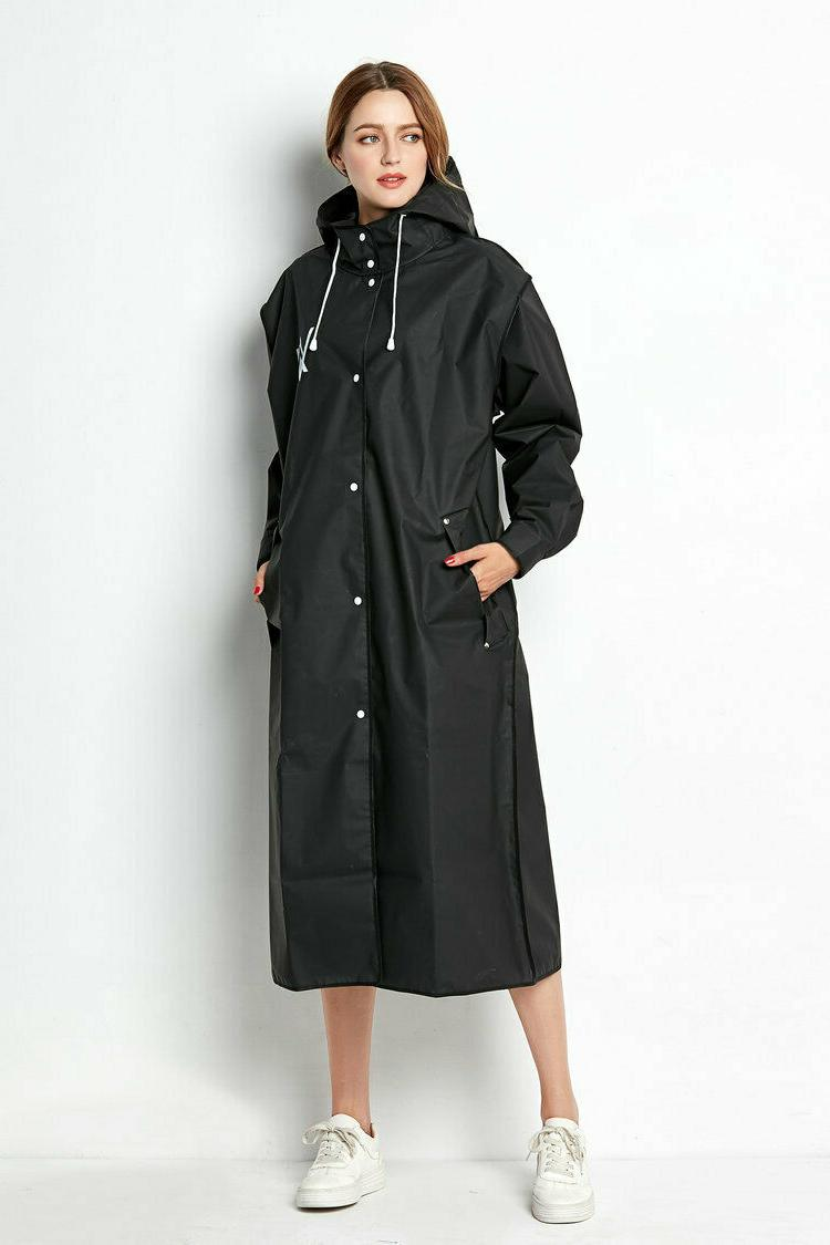 Beautiful Black EVA Womens Raincoat Waterproof Outdoor Long Hooded