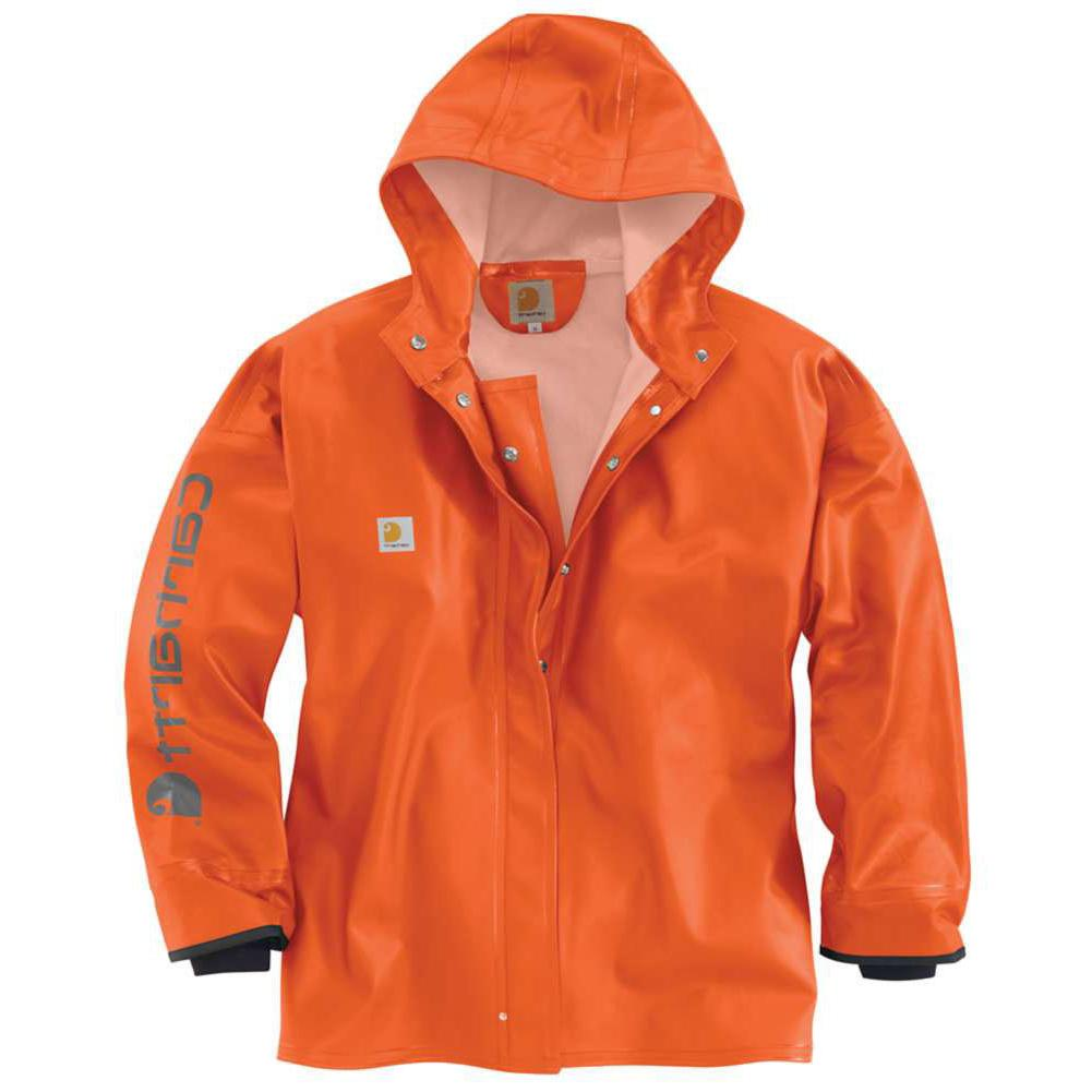 CARHARTT Belfast Mens Rain PVC Work Safety Orange Jacket/Coa