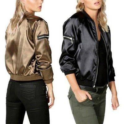 black gold womens satin bomber jacket long