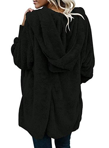 Dokotoo Womens Casual Ladies Open Front Fluffy Fleece Sweater Jacket Black