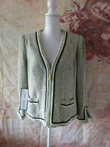 boucle zipper jacket womens size medium professional