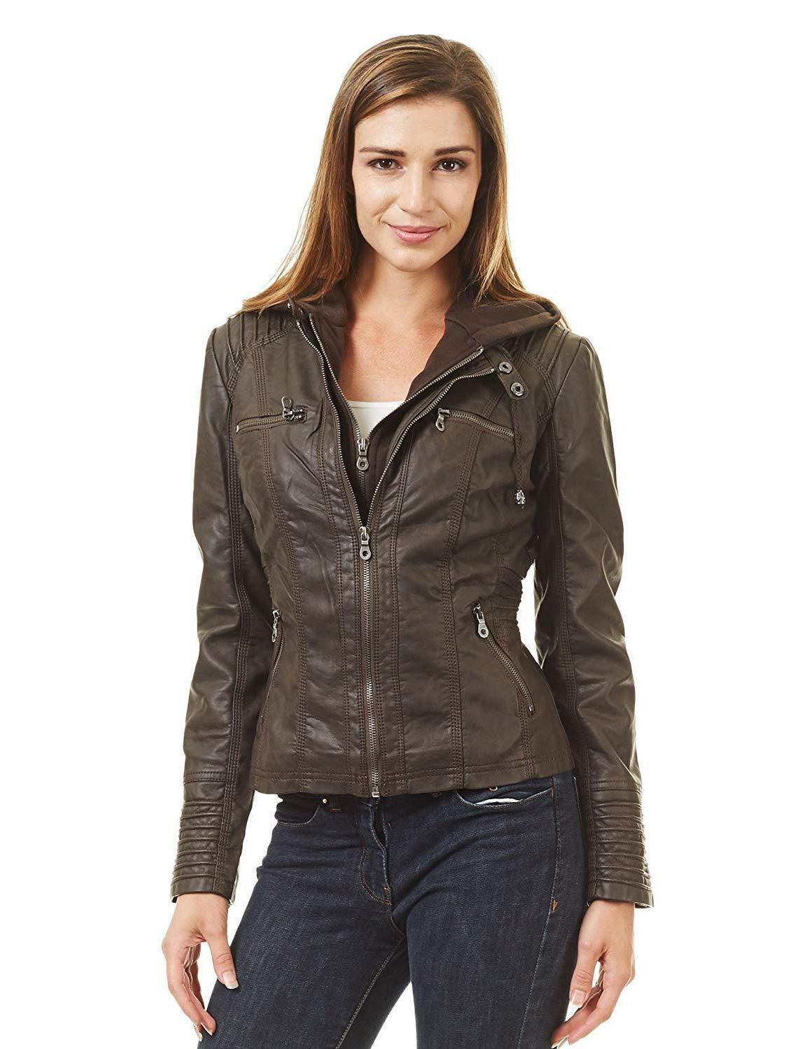 Come California Womens Faux Leather Up Moto Jacket Hoodie