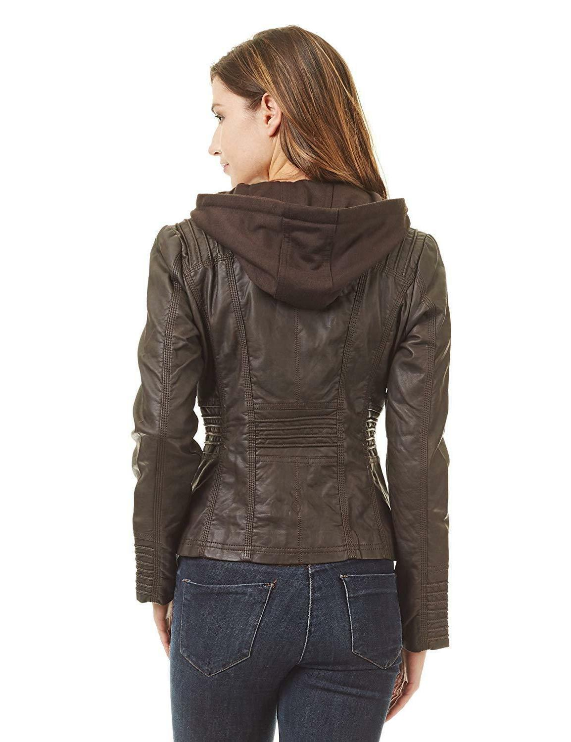 Come California Womens Faux Leather Up Moto Jacket with Hoodie