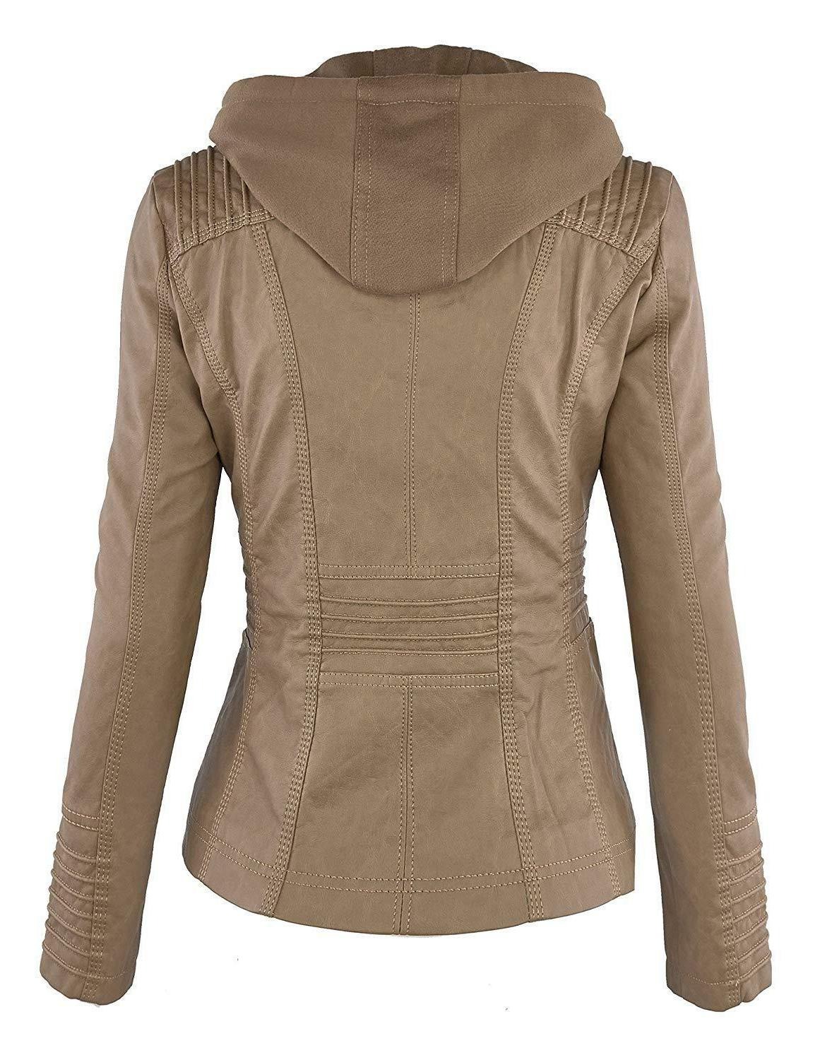 Come Together Womens Faux Leather Up Moto Jacket with Hoodie