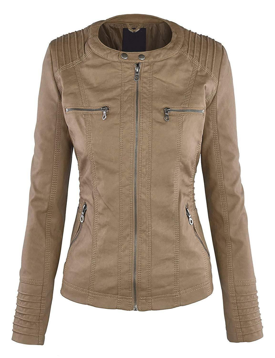 Womens Leather Up Moto Hoodie