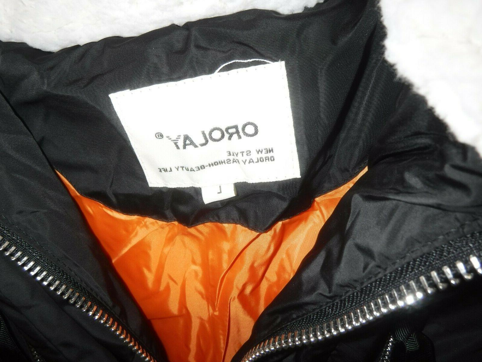 Orolay Down Womens LARGE-Black Hooded-NEW