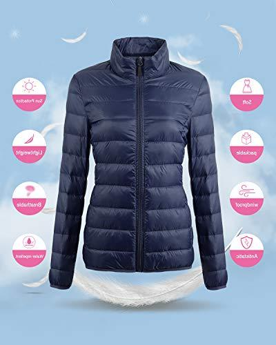 Fantiny Ultra Weight Collar Down Jacket Packable Outwear Puffer Coats Travel Bag,UI18WYRF027,Navy,XS