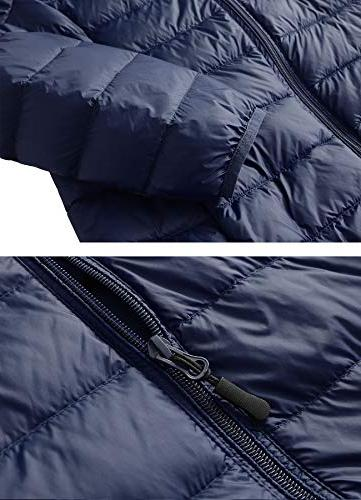Fantiny Women's Ultra Weight Collar Jacket Packable Puffer Coats with Travel Bag,UI18WYRF027,Navy,XS