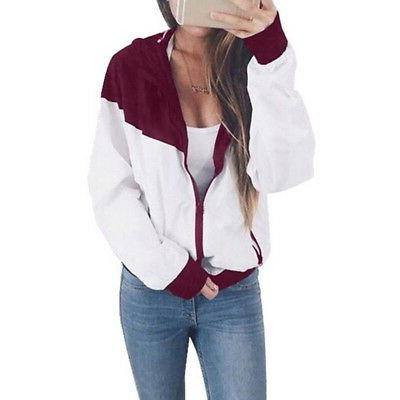 Fashion Jacket Casual Colorblock Hooded Zipper