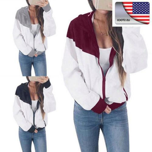 Fashion Womens Baseball Jacket Casual Colorblock Hooded Wind