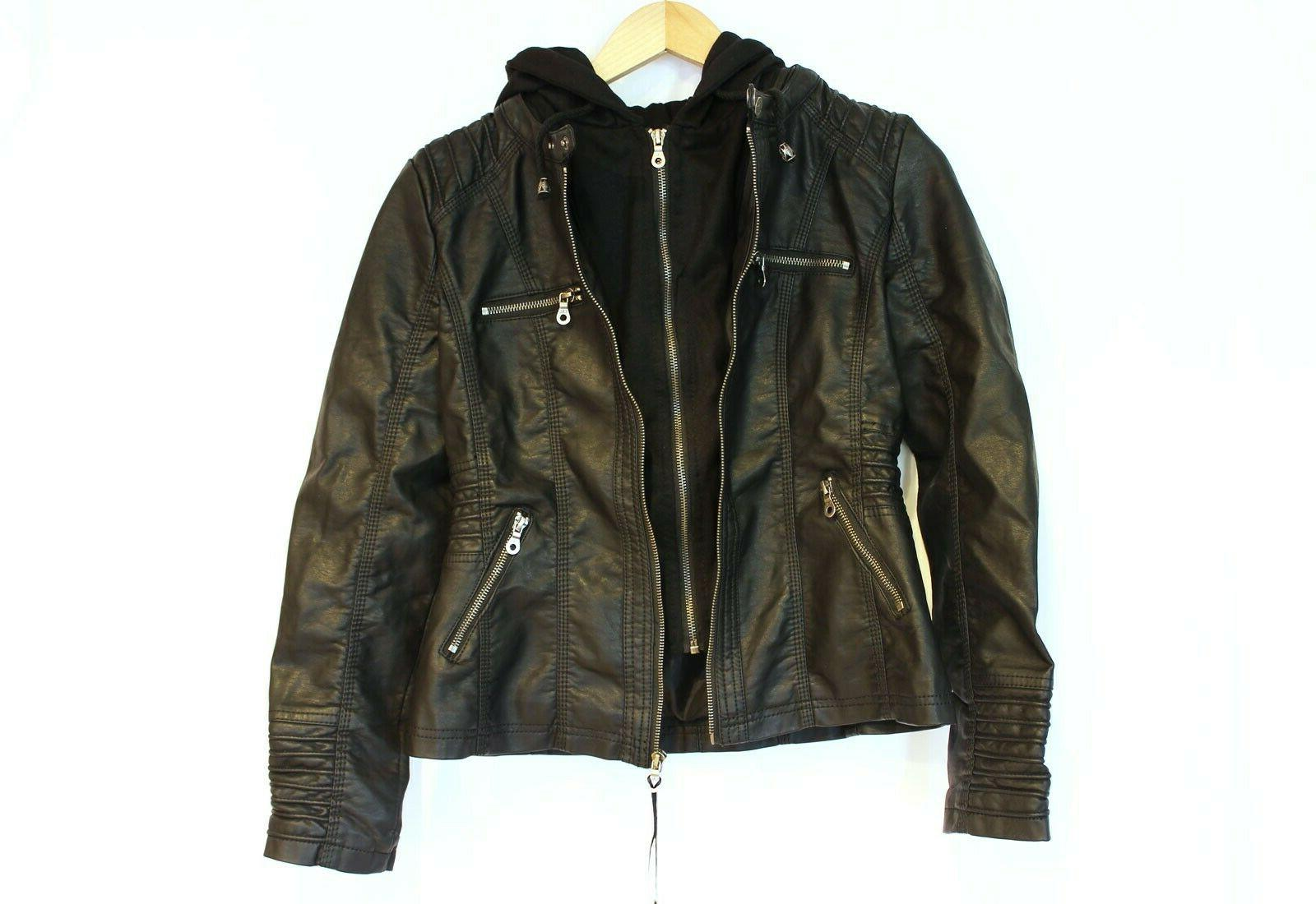 Lock Leather Moto with removeable Hoodie