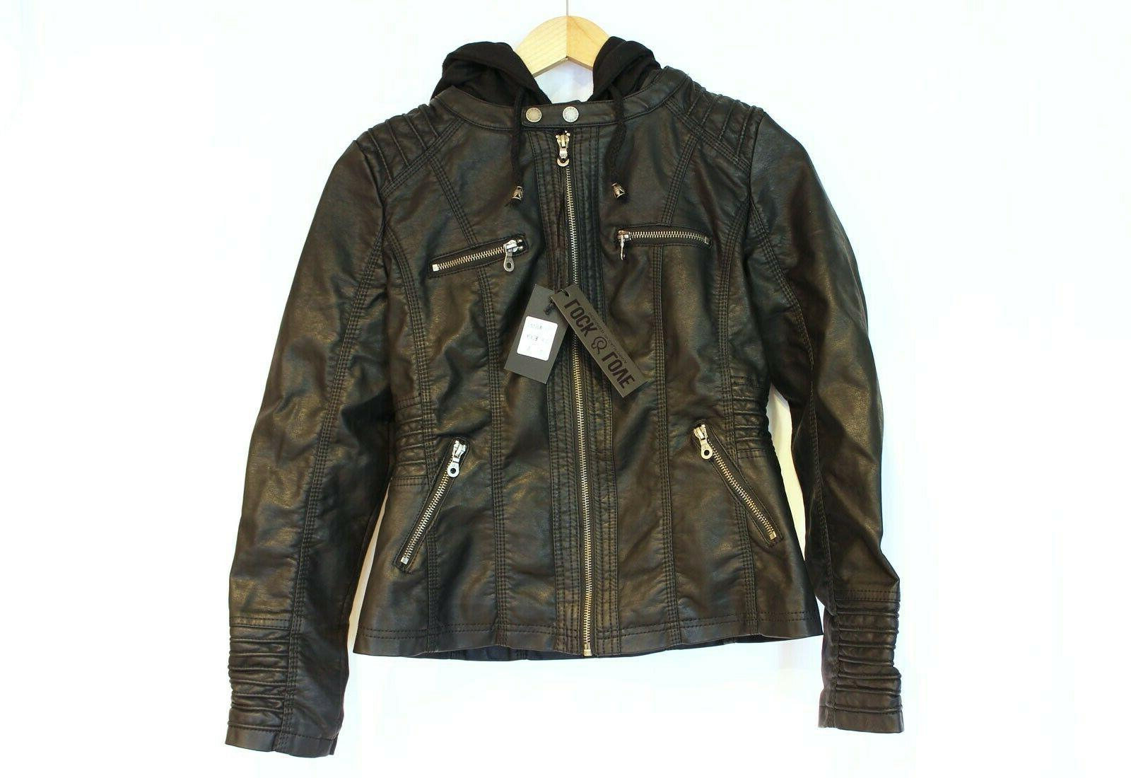 faux leather moto jacket with removeable hoodie