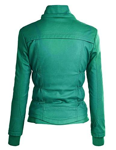 WJC858 Womens Faux Zip Up Bomber with Hood