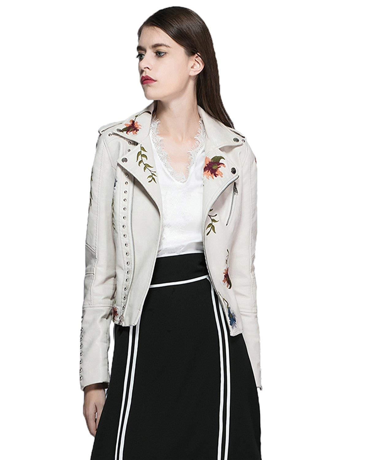 Fitaylor Women's Embroidered Faux Moto Jacket
