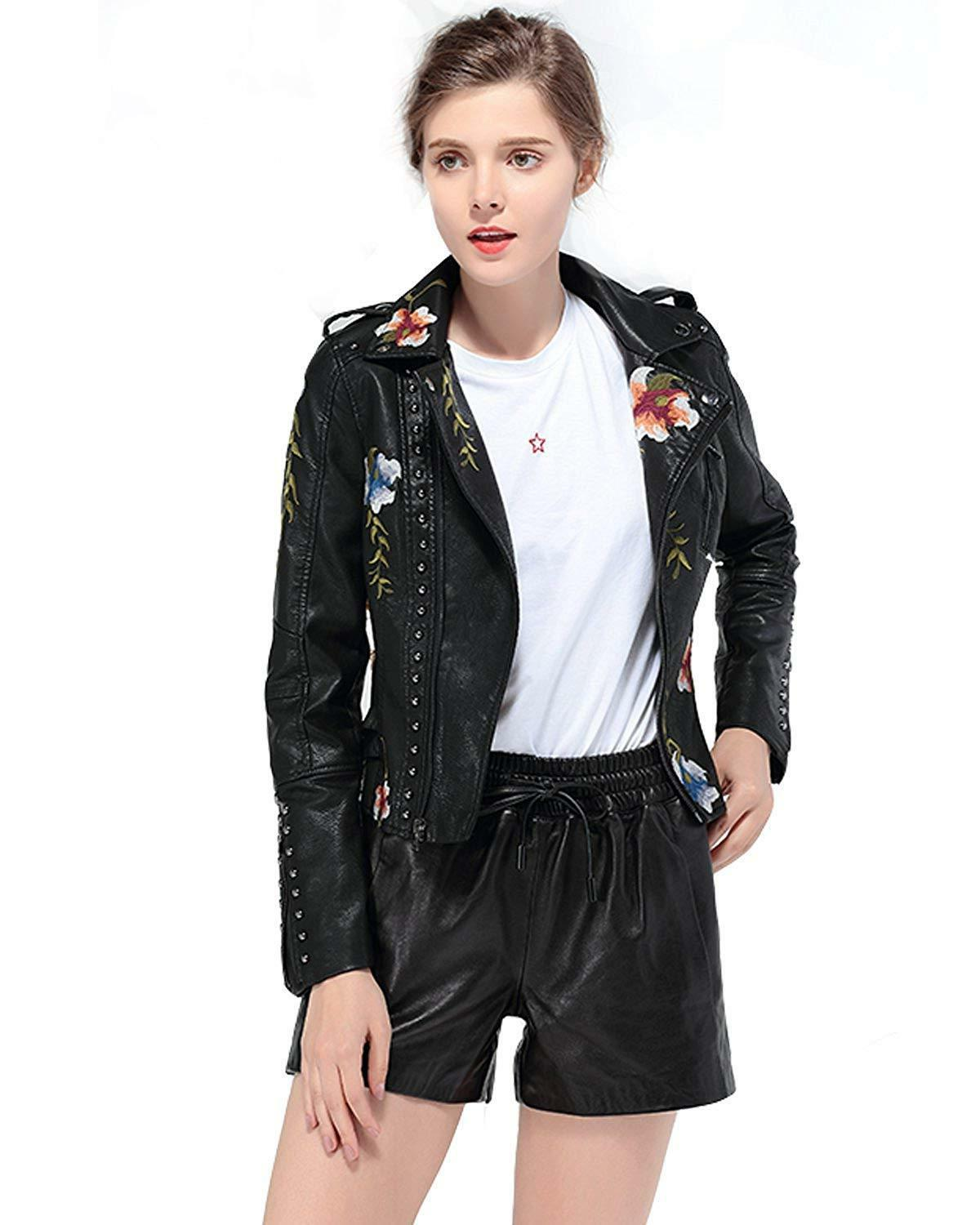 Fitaylor Faux Leather Moto PU Jacket
