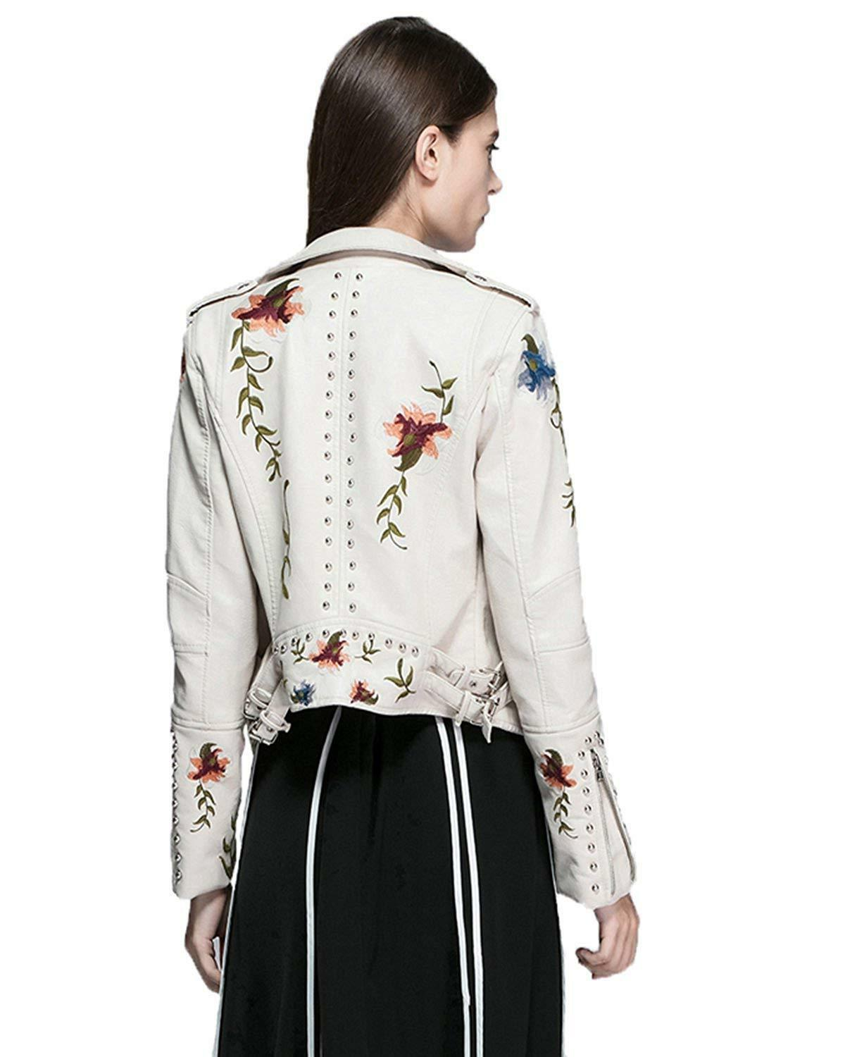 Fitaylor Floral Faux PU Jacket