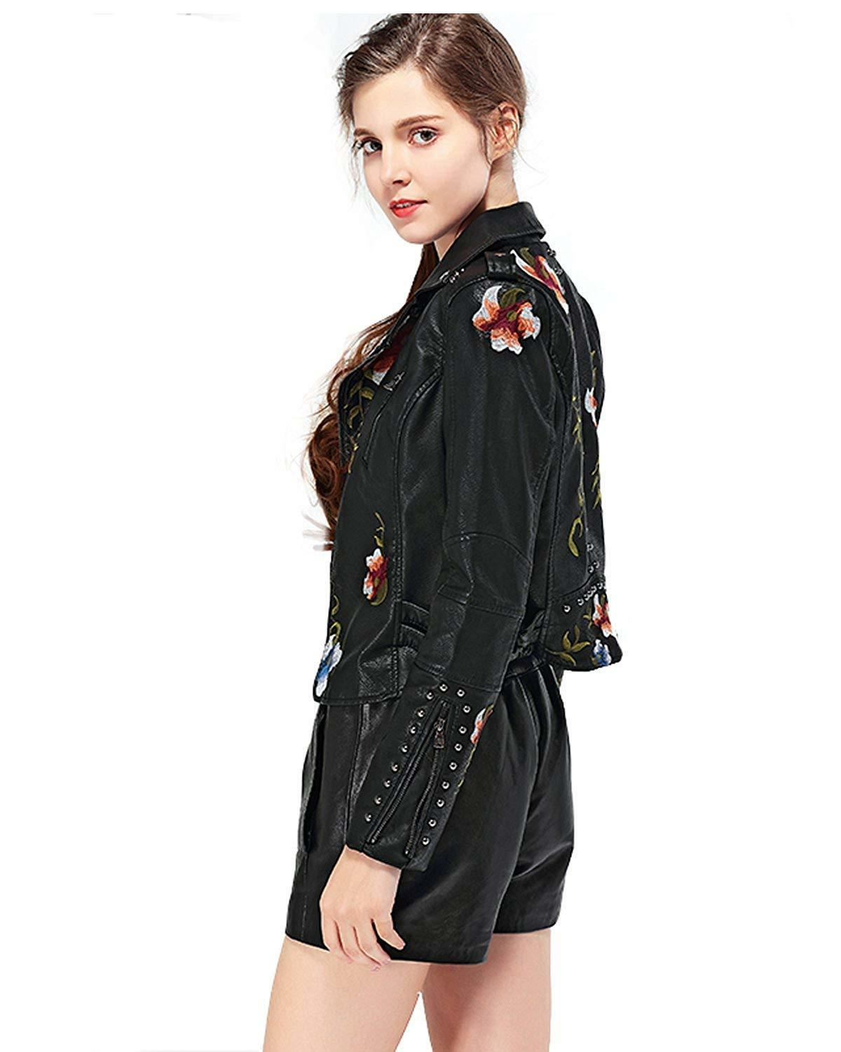 Fitaylor Women's Embroidered Faux Jacket