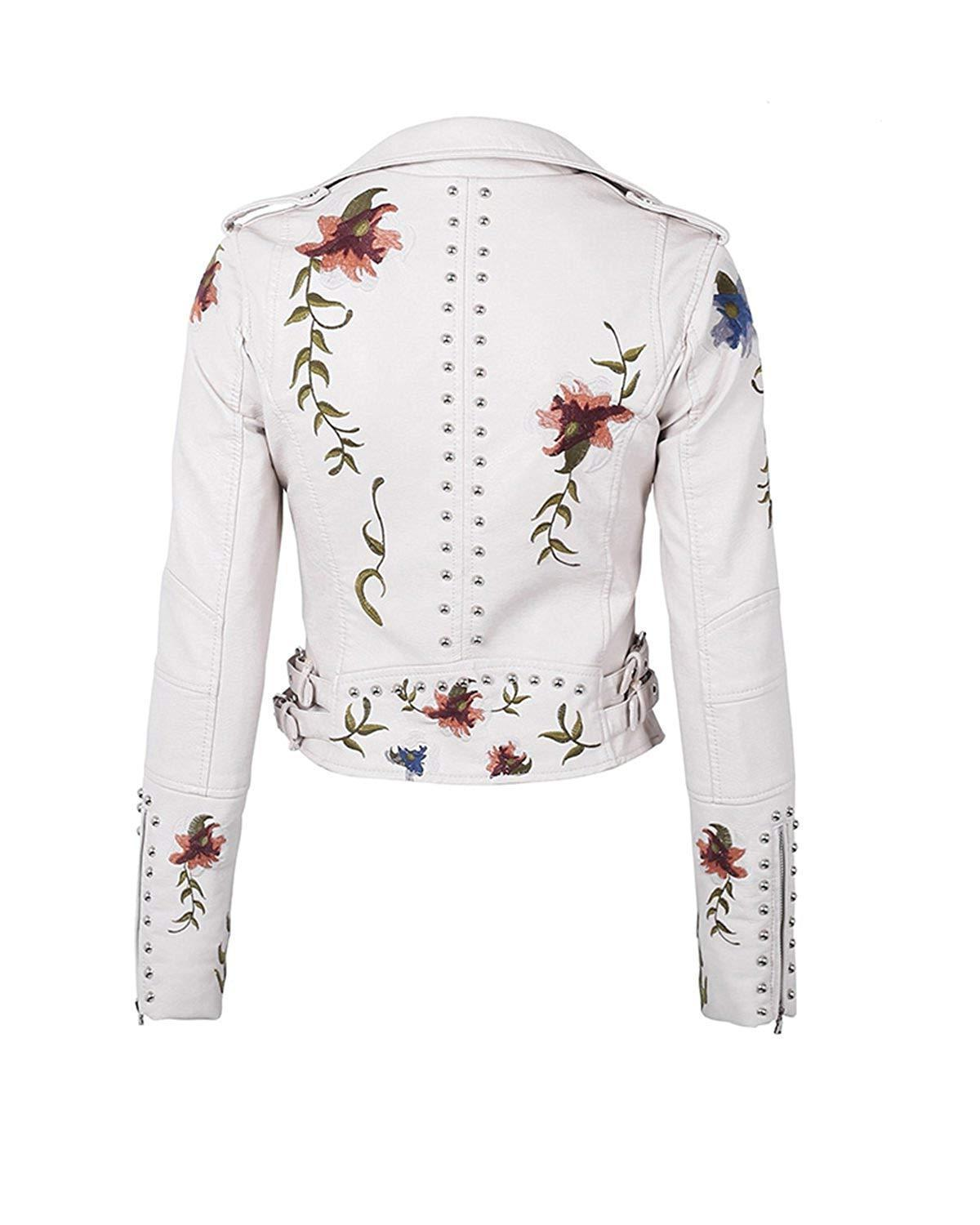 Fitaylor Embroidered Faux Moto Jacket Coat