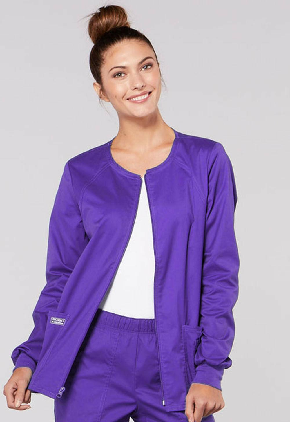 Grape Cherokee Scrubs Workwear Core Stretch Warm Up Jacket 4
