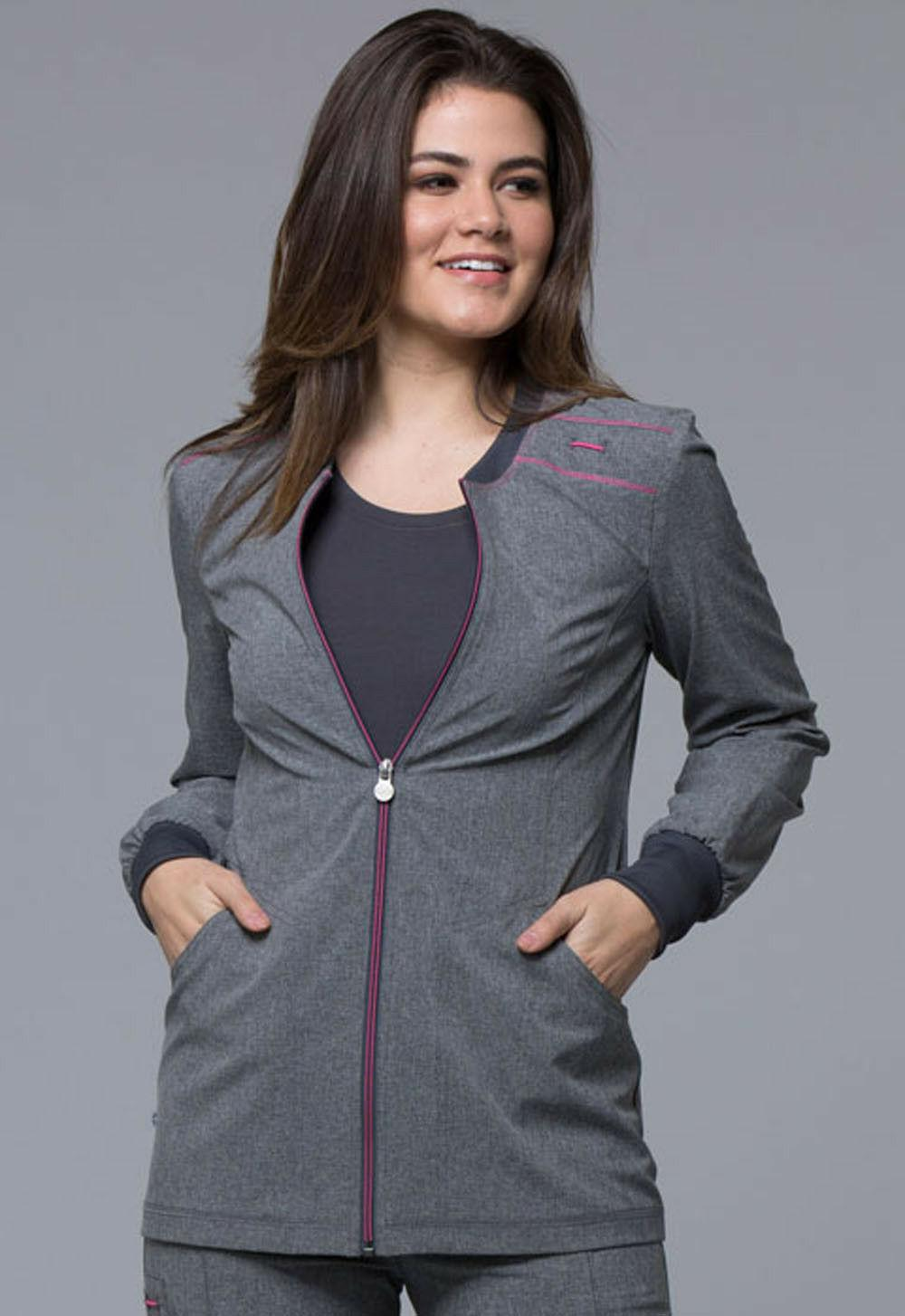 Heather Grey Cherokee Scrubs Infinity Zip Front Jacket CK340