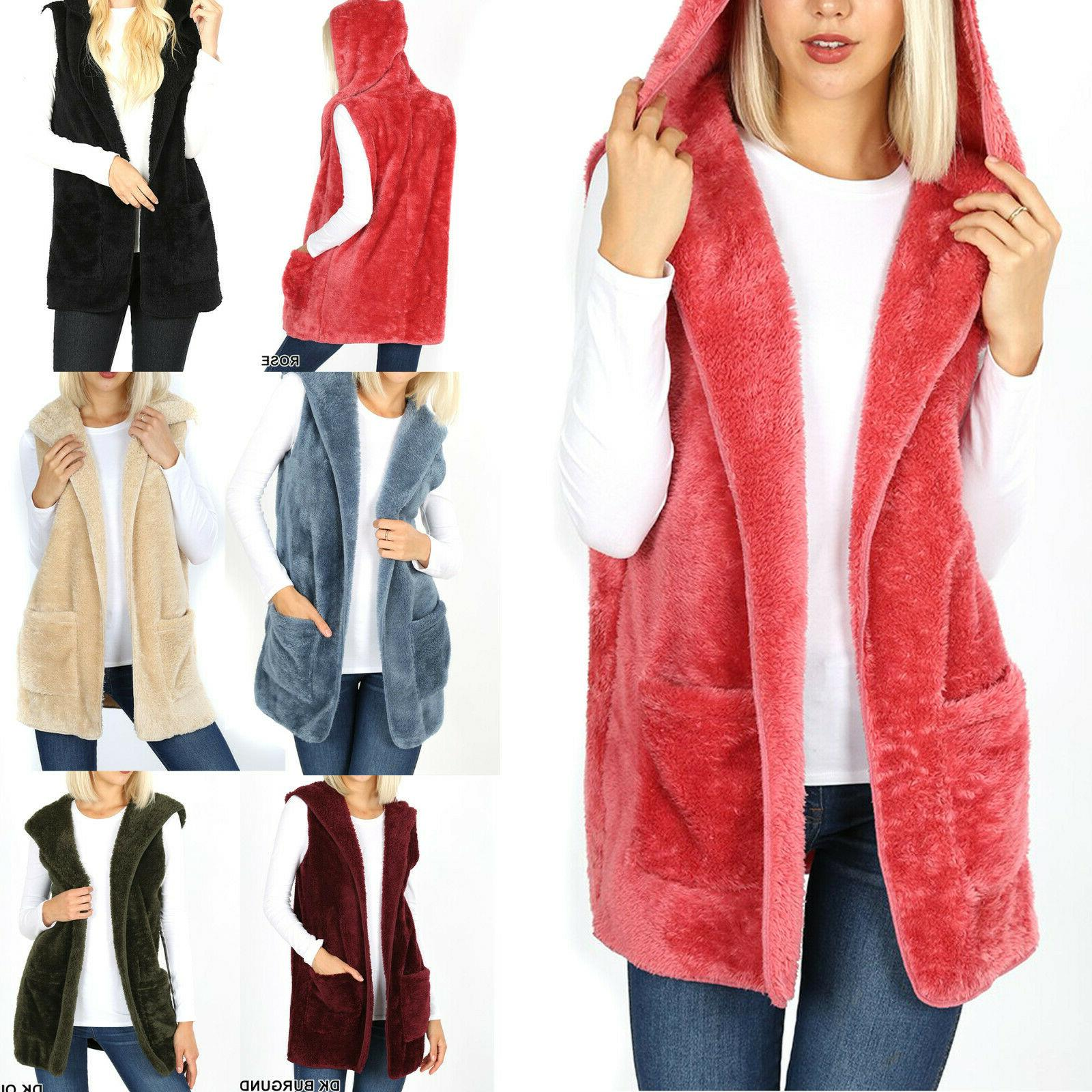 hooded soft faux fur vest sleeveless cardigan