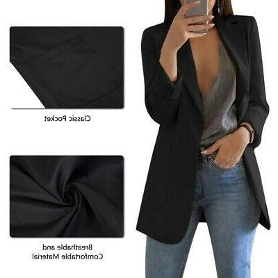 Womens Slim Tops Out Long Business Coat Button
