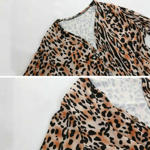 Hot ! Women's Leopard Print Sweater Cardigan Coat Jacket Long Tops