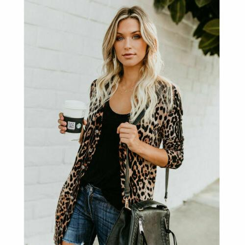 Hot Women's Leopard Coat Long Tops