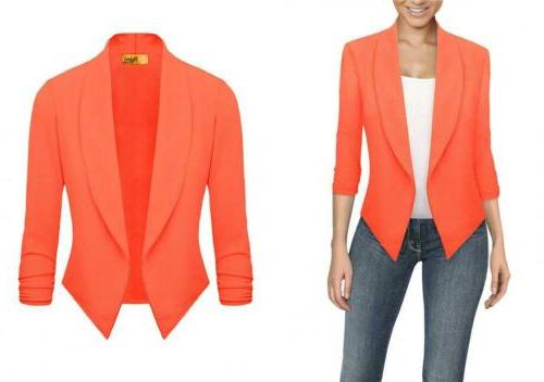 HyBrid & Company Womens Casual Work Office Open Front Blazer